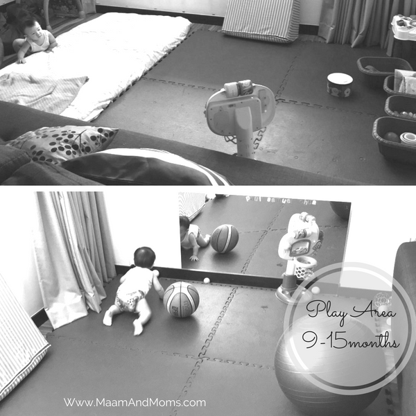 Mats and mirror were moved to the far end of the room and the area was sectioned off using our sofa bed and his crib