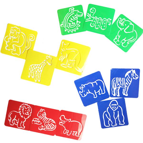 stencils Land animals 12-pc set